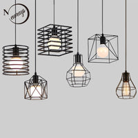 Retro industrial geometric black LED iron pendant lights indoor lighting corridor restaurant bedromm bedside coffer hanging lamp