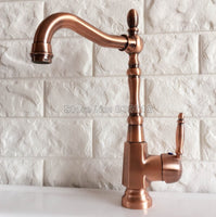 Antique Red Copper Single Handle Bathroom Faucet Kitchen Sink Mixer Washbasin Tap Cold and Hot Water Faucets Wnf417