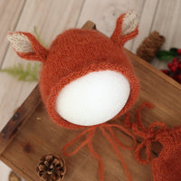 Newborn mohair Reindeer bonnet Romper set Luxurious Baby Christmas Deer Overall Outfit hat set Photography props Santa Claus