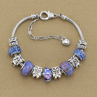 Adjustable length High quality DIY Owl Purple Beads Luxury Charm Pandora Bracelets Banglesr Plated