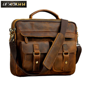 "Men Quality Leather Antique Retro Business Briefcase 13"" Laptop Case Attache Portfolio Bag One Shoulder Messenger Bag B207"