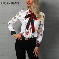 Chain Print Tied Neck Casual Blouse Shirt Women