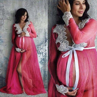 Lace Pregnant Women Long Maxi Dresses Maternity Gown Photography Props Photo Shoot ax