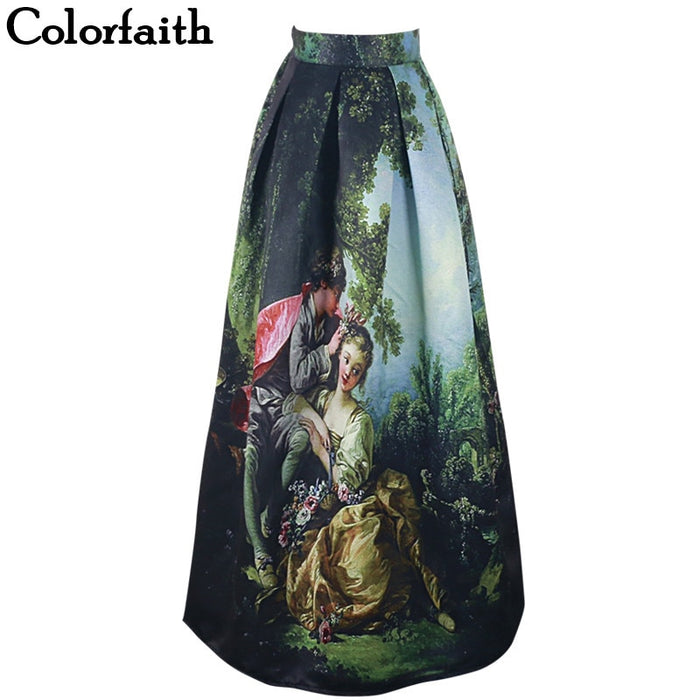 Princess Royal Vintage Retro Long Skirts Oil Painting High Waist 100cm Ball Gown