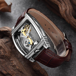 Transparent Automatic Mechanical Watch Men Steampunk Skeleton Luxury Gear