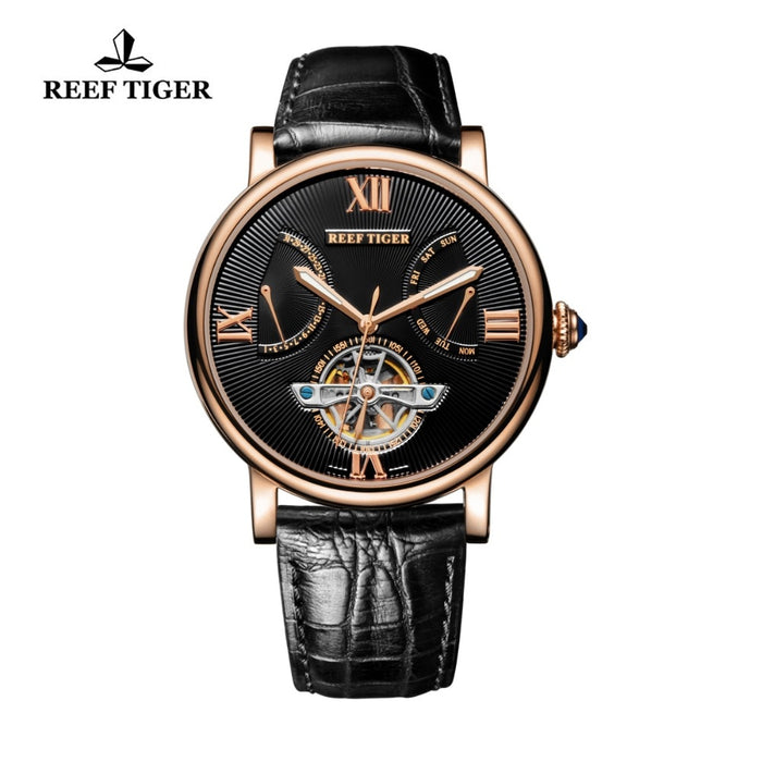 Reef Tiger/RT Luxury Tourbillon Watch Men Rose Gold Automatic Mechanical Watch Date Day