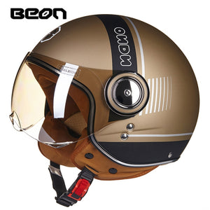 BEON motorcycle helmet Vintage scooter open face helmet Retro Riding Racing helmet ECE approved Italy flag moto Go kart casco