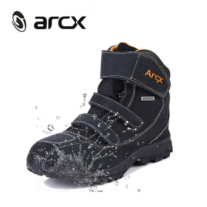 ARCX boot motorcycle waterproof Genuine Cow Suede Leather Street Moto Motorbike Chopper