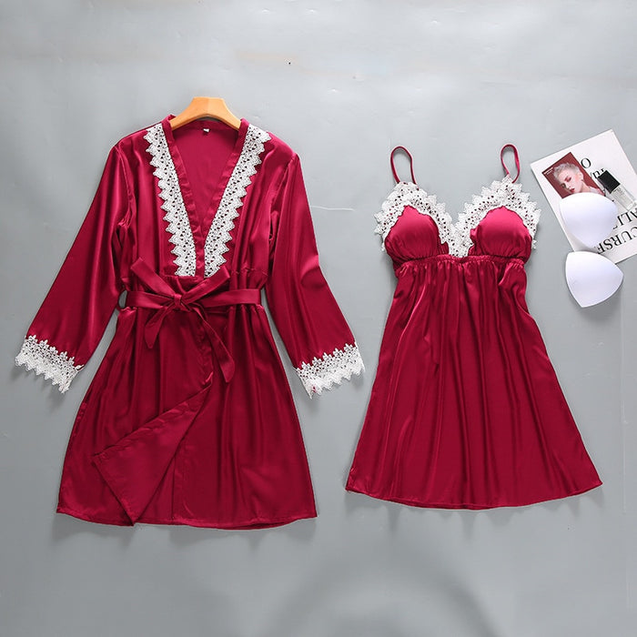 Sexy Lady Lace 2PCS Sleepwear Burgundy Women Rayon Robe Set Summer Nightgown Intimate