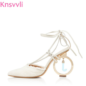 2019 Runway Strange Style High heels Women Pumps Hemp Cloth Ankle Cross Lace up Sandals Round Pendant Heels Party Shoes Ladies