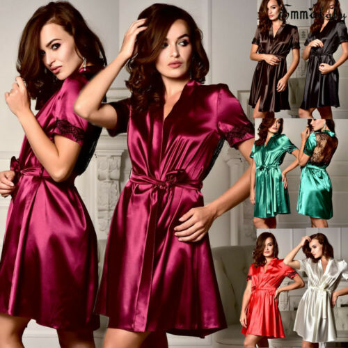 2019 Summer Hot Sale New Sexy Style Womens Short Robes Lace Silk Stain Nightdress Lingerie