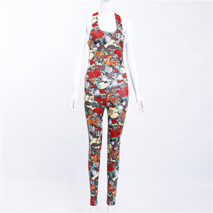 One Piece Sexy Gym Clothing Suit Floral Print Backless Padded Yoga Set Fitness Running Tight