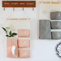 4 pocket minimalist hanging tissue pumping Signature Cotton cotton towel sets pumping tray Guadai box organizer Storage Bag