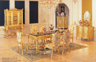 luxury dining table set dining table with 6 chairs wooden dining furniture gold color furniture