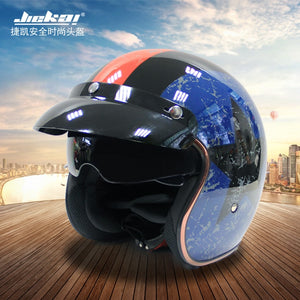 Jiekai Motorcycle Helmet 3/4 Open Face Vintage Casco Moto Jet Scooter Bike Helmet Retro DOT approved Casque Motociclismo
