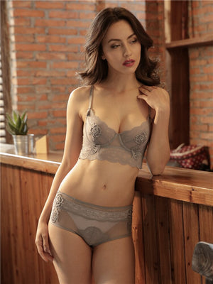 New flower bra set sexy breathable women underwear set large size lace with steel ring push up lingerie set