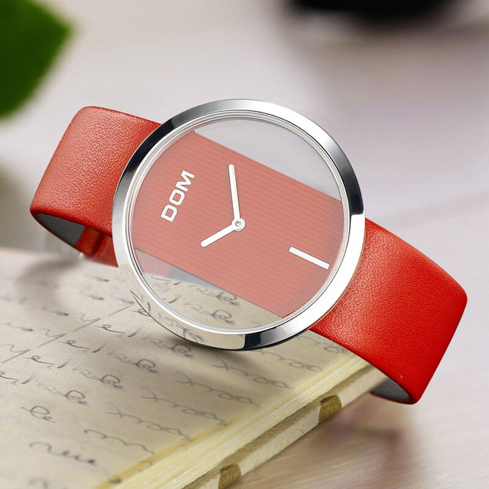 DOM Brand luxury Fashion Casual Unique Lady Wrist watches leather quartz waterproof Stylish