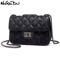 NIGEDU Women Messenger Bags Lace design Ladies Chain flap Bag female Handbags luxury Brand girls Shoulder Bags Phone wallet
