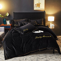 Gray black Luxury Fleece fabric Bedding sets Queen King size Embroidery Bed Duvet cover Bed sheets linen set