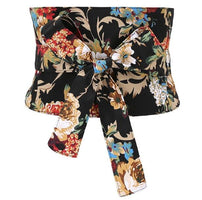 Women's runway fashion vintage flower print bow Cummerbunds female Dress coat Corsets