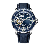 Luxury Dive Watches for Men Automatic Rose Gold Tone Blue Watches Nylon Strap