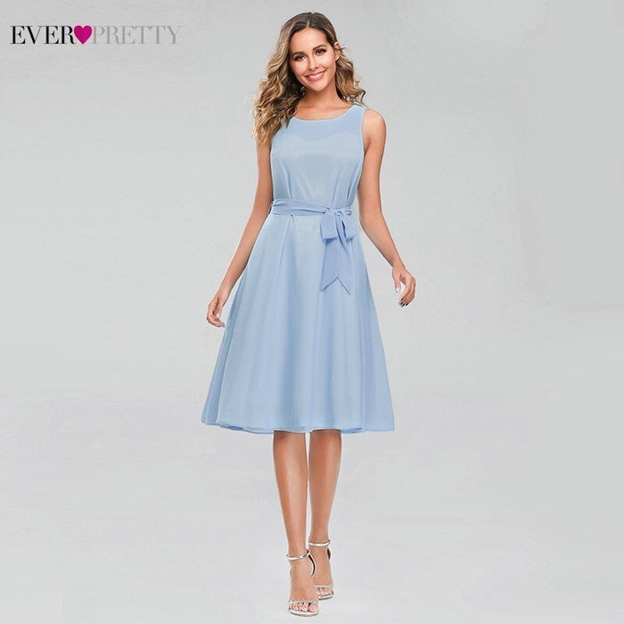Simple Blue Homecoming Dresses Ever Pretty A-Line Bow Sashes Elegant Summer Graduation Dresses