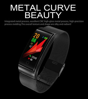2018 Newest Metal Smartn watch Wristband waterpoof Blood Pressure Heart Rate Monitor Men Women Fitness Watch Pedometer watches