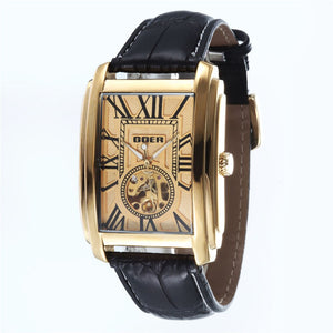 Relogio Masculino  Top Brand Luxury Skeleton Watches Men Leather Band Rectangle Automatic