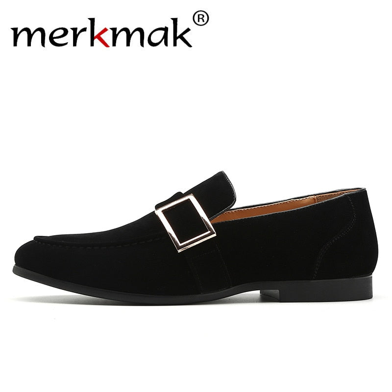 Merkmak Suede Men Loafers Metal Buckle Design Elegant Slip On Man Dres Jyards