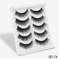 SEXYSHEEP 5Pairs 3D Mink Hair False Eyelashes Natural/Thick Long Eye Lashes Wispy Makeup