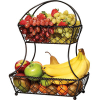 Fruit Basket Home Kitchen Metal Vegetable Storage Organizer Basket 2-Layer Baskets Storage basket Creative Snacks Candy