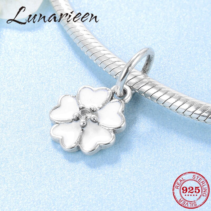 White Spring Flowers 925 Sterling Silver Heart charms Pendants Fit Original Pandora Charm Bracelet