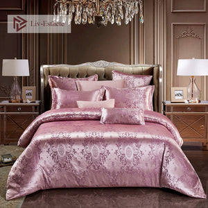 Liv-Esthete New Luxury Bedding Set Euro Jacquard Palace Double Adult Bedspread Flat Sheet Decorative Bed Linen Set Home Textiles