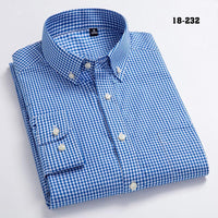 New Arrival Men's Oxford Wash and Wear Plaid Shirts 100% Cotton Casual Shirts High Quality Fashion Design Men's Dress Shirts