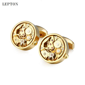 Hot Sale Functional Watch Movement Cufflinks For Mens Stainless Steel Gold Color Steampunk Gear Watch Mechanism Cuff links