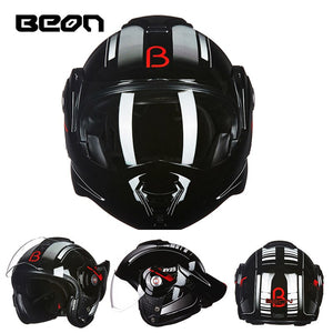 The New BEON flip up motorcycle helmet can be converted into retro helmet chrome blue double lens modular full face helmets 702