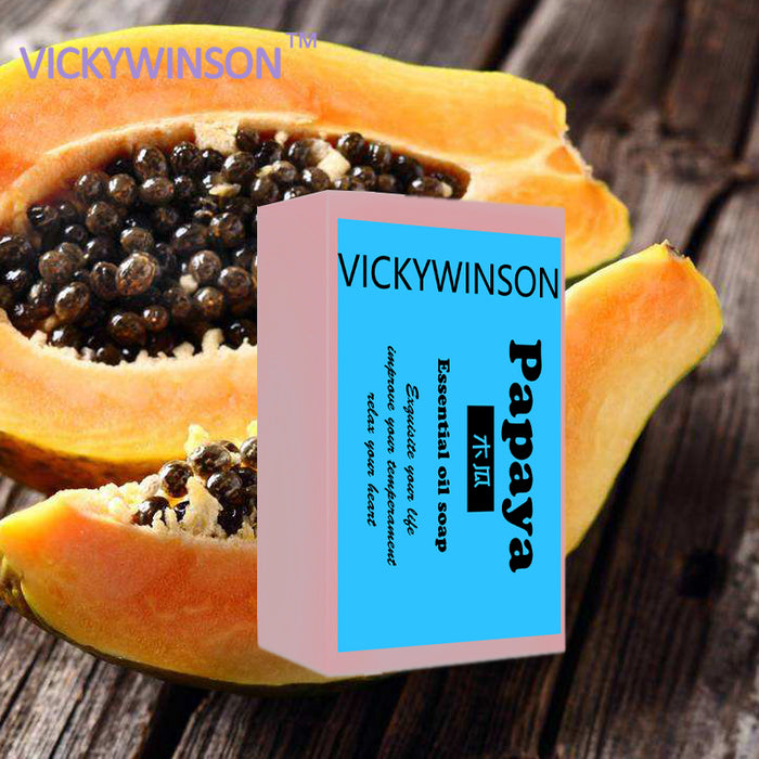 VICKYWINSON Natural Organic Herbal Green Papaya Soap Whitening Lightening Skin Handmade
