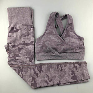 Camo Seamless Yoga Set  Fitness Sports Wear For Woman Gym Clothing High Waist Yoga Pants