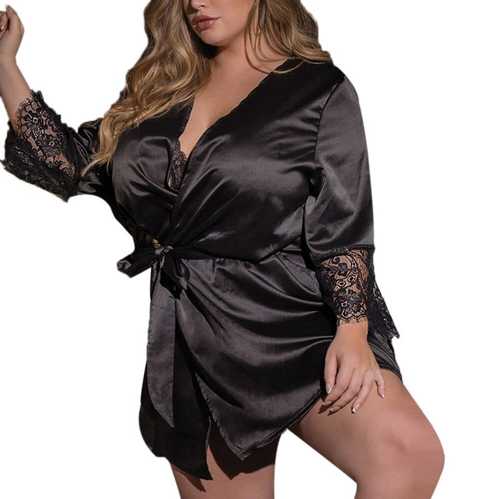 Women sleepwear Sexy Silk Kimono Dressing Gown large size Babydoll Lace Lingerie ladies fancy