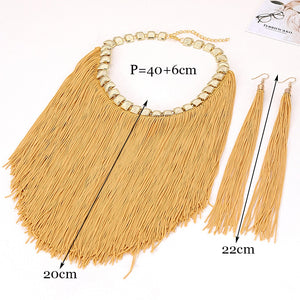 ZHINI Bohemian Retro Jewelry Sets For Women Fringed Pendant Tassel Necklace Earrings Fashion African Weddings Jewelry Earrings