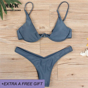 women swimsuit split bikini bandage swim suit With chest pad and underwire