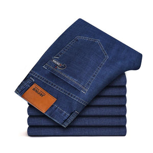 2020 New Spring Autumn Business  Jeans Men  Brand  Heavyweight Denim Trousers Soft Mens