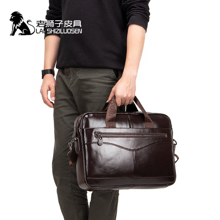 LAOSHIZI NEW Men's Briefcase Male Genuine Leather Men Bags Messenger Bag Leather Laptop