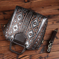 High Quality Women Genuine Leather Tote Crossbody Handbag Retro Embossed Leisure Female Natural Skin Top Handle Shoulder Bags