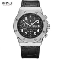 BAOGELA Men's Chronograph Quartz Watches Leather Strap Army Sports Luminous