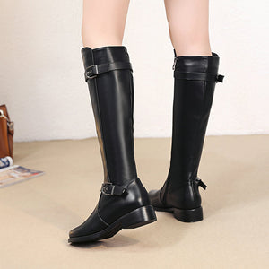 Women Knee High Boots Soft Pu Leather Flat Fashion Knee Winter Boots Comfortable Warm Fur Woman Long Boots Shoes Plus Size 2018