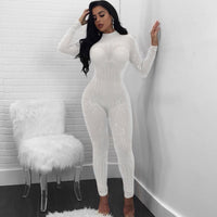 Women Mock Neck Jumpsuit Sequin Rhinestone Diamonds Jumpsuits Long Sleeve Skinny Bodysuits Clubwear Party One Piece Romper White