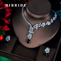 HIBRIDE Fashion Green CZ Jewelry Sets For Women Flower Design Necklace Earrings Bijoux Set Party Wedding Gift Wholesale N-595
