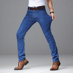 2020 New Spring Autumn Business  Jeans Men  Brand  Heavyweight Denim Trousers Soft Mens Pants Men's Fashion Large Size 40 42 44