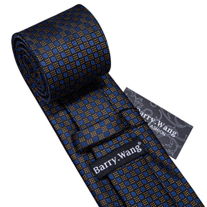 Barry.Wang Gold Blue Novelty Fashion Designers Blue Tie Hanky Box Sets Gifts For Men Wedding Party Business Neckties LS-5132